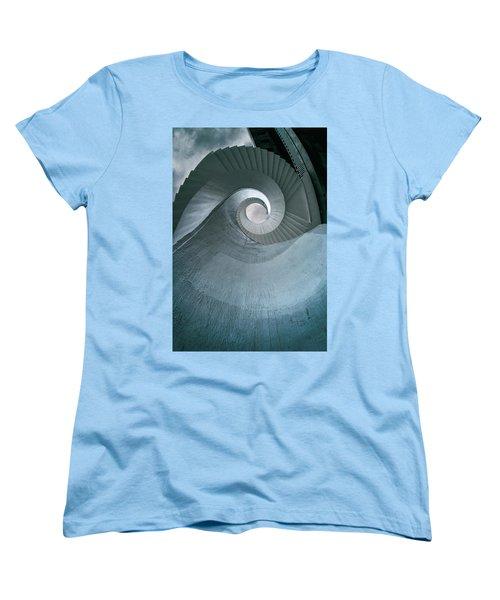 Women's T-Shirt (Standard Cut) featuring the photograph Blue Spiral Stairs by Jaroslaw Blaminsky
