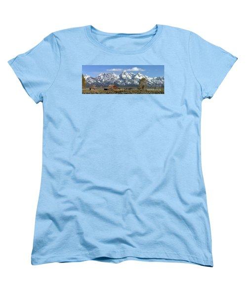Blue Spring Skies Over Mormon Row Women's T-Shirt (Standard Cut) by Adam Jewell