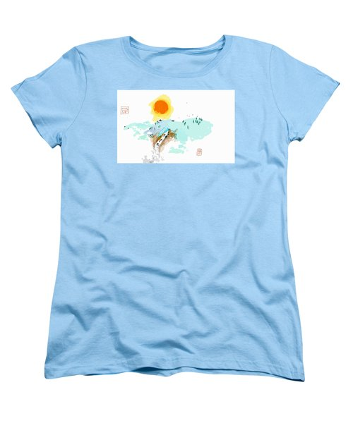 Blue Waterfalll Women's T-Shirt (Standard Cut) by Debbi Saccomanno Chan