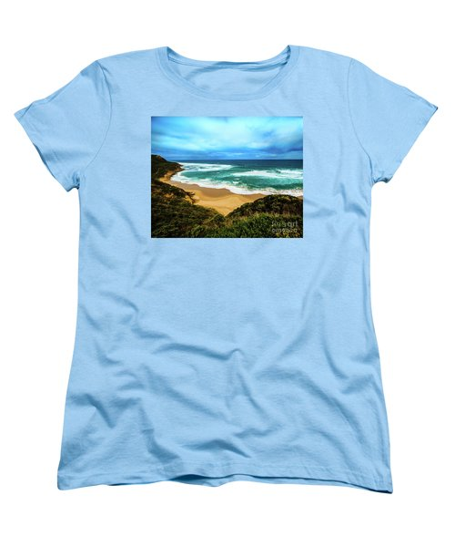Women's T-Shirt (Standard Cut) featuring the photograph Blue Wave Beach by Perry Webster