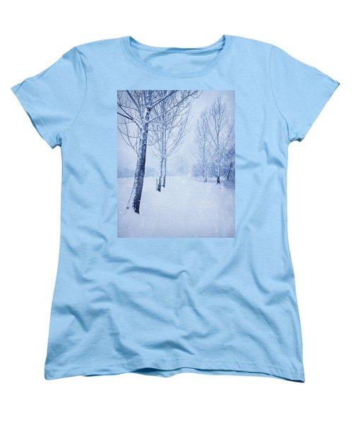 Blue Winter Path Women's T-Shirt (Standard Cut) by Theresa Tahara