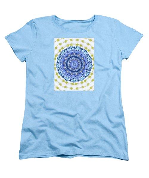 Blue With Green Dots Women's T-Shirt (Standard Cut) by Shirley Moravec