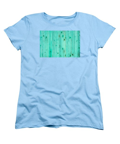 Women's T-Shirt (Standard Cut) featuring the photograph Blue Wooden Planks by John Williams