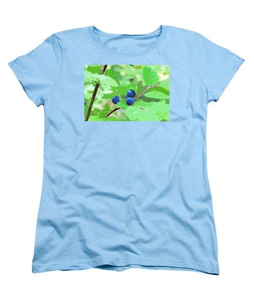 Blueberries Halftone Women's T-Shirt (Standard Cut)