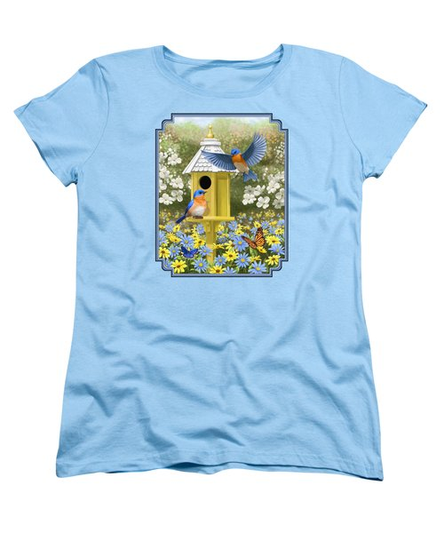 Bluebird Garden Home Women's T-Shirt (Standard Cut) by Crista Forest