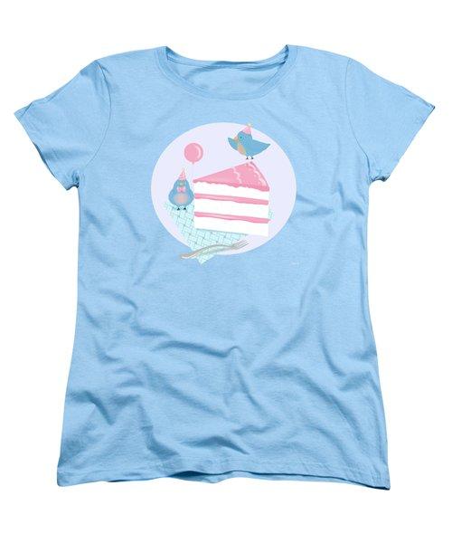 Bluebirds Love Birthday Cake Women's T-Shirt (Standard Cut) by Little Bunny Sunshine