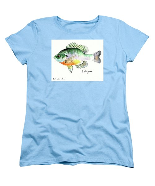 Women's T-Shirt (Standard Cut) featuring the painting Bluegill Fish by LeAnne Sowa