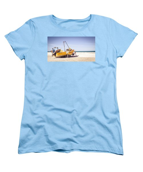 Women's T-Shirt (Standard Cut) featuring the photograph Boat And The Beach by Silvia Bruno