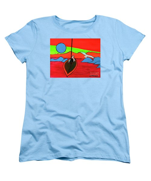 Boat, Bird And Moon Women's T-Shirt (Standard Cut) by Jeanette French