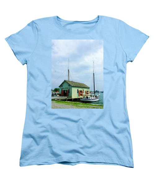 Women's T-Shirt (Standard Cut) featuring the photograph Boat By Oyster Shack by Susan Savad