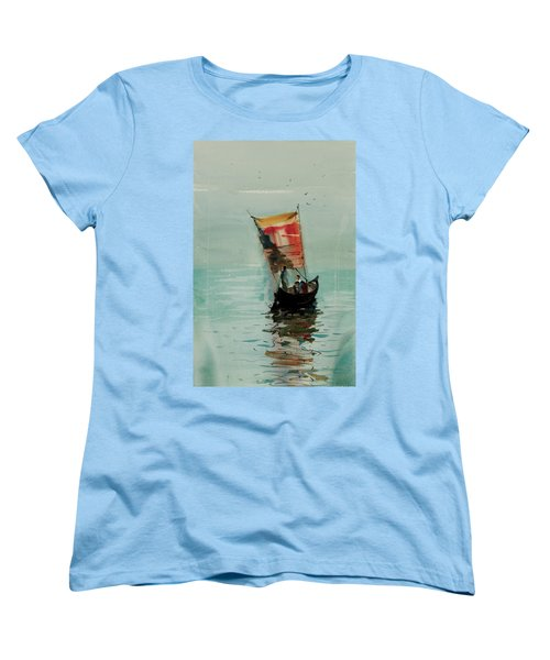 Women's T-Shirt (Standard Cut) featuring the painting Boat by Helal Uddin
