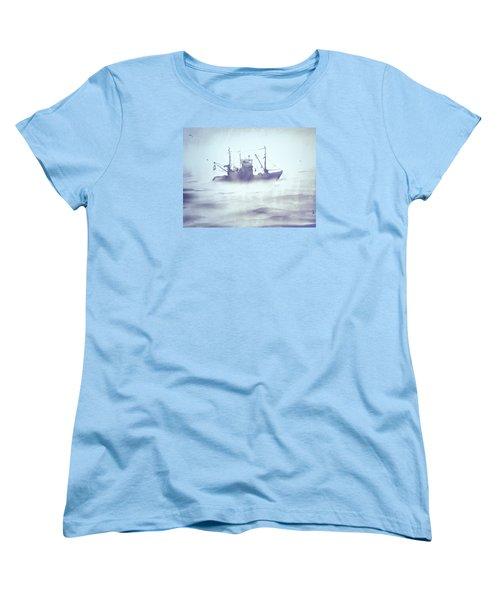 Boat In The Foggy Sea Women's T-Shirt (Standard Cut) by Elena Vedernikova