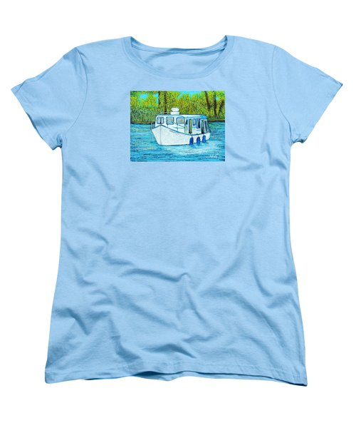 Boat On The River Women's T-Shirt (Standard Cut) by Reb Frost