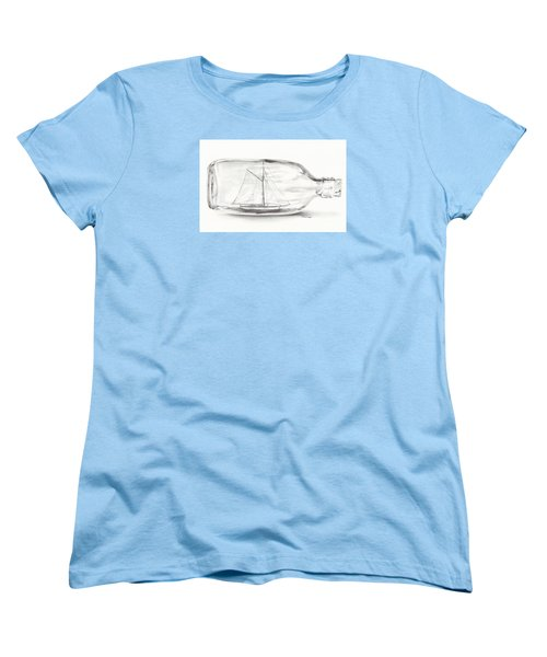 Women's T-Shirt (Standard Cut) featuring the drawing Boat Stuck In A Bottle by Meagan  Visser