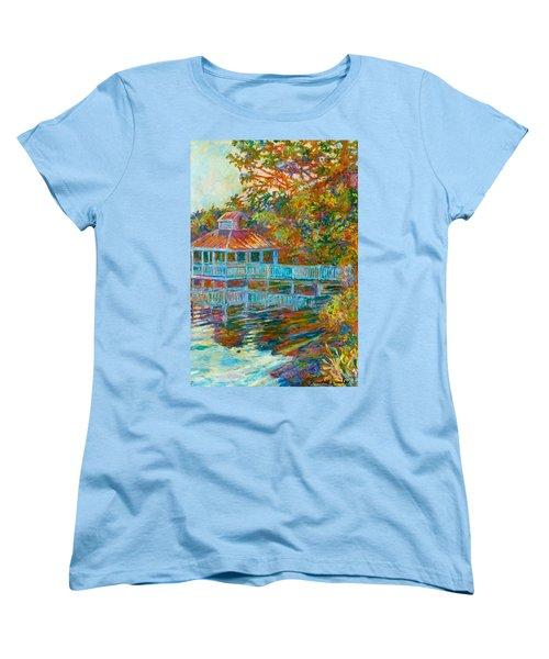 Boathouse At Mountain Lake Women's T-Shirt (Standard Cut) by Kendall Kessler