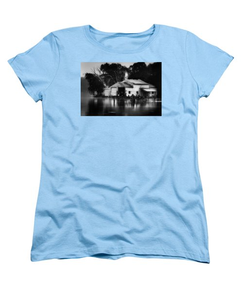 Women's T-Shirt (Standard Cut) featuring the photograph Boathouse Bw by Bill Wakeley
