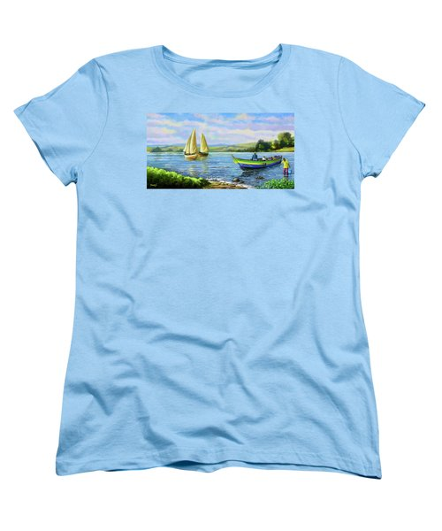 Women's T-Shirt (Standard Cut) featuring the painting Boats At Lake Victoria by Anthony Mwangi
