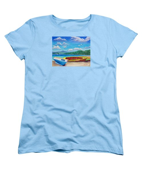 Boats At Rest Women's T-Shirt (Standard Cut) by Laura Forde