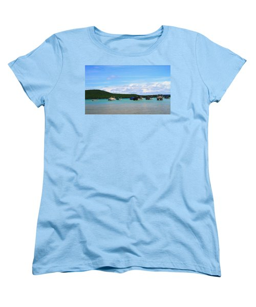 Boats In Sleeping Bear Bay Wood Texture Women's T-Shirt (Standard Cut) by Dan Sproul