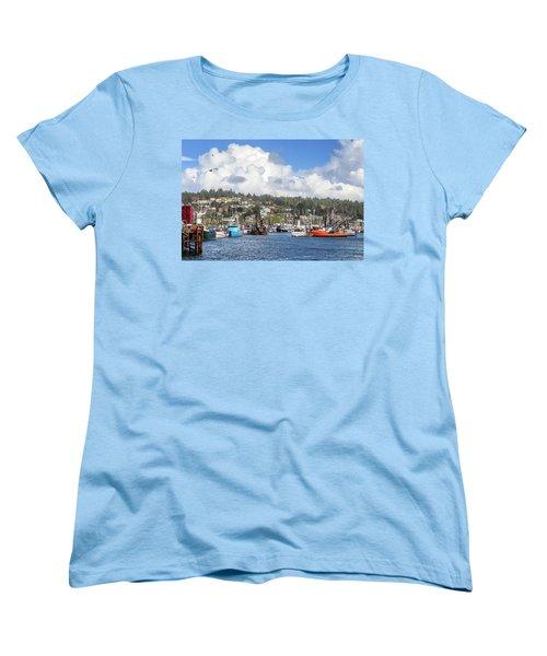 Boats In Yaquina Bay Women's T-Shirt (Standard Cut) by James Eddy
