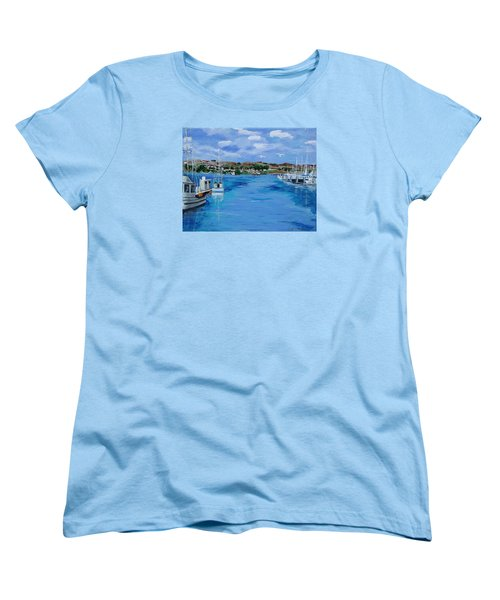 Bodega Bay From Spud Point Marina Women's T-Shirt (Standard Cut) by Mike Caitham