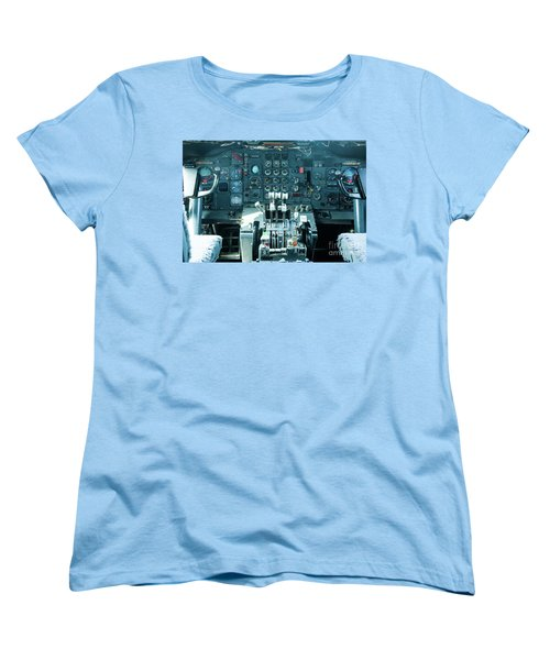 Women's T-Shirt (Standard Cut) featuring the photograph Boeing 747 Cockpit 23 by Micah May