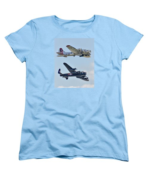 Boeing B-17g Flying Fortress And Avro Lancaster Women's T-Shirt (Standard Cut) by Alan Toepfer