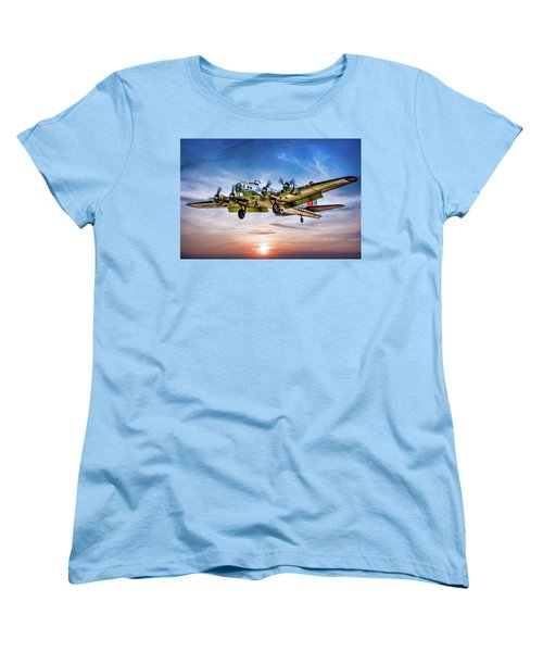 Women's T-Shirt (Standard Cut) featuring the photograph Boeing B17g Flying Fortress Yankee Lady by Chris Lord