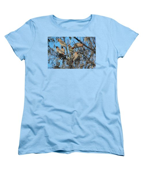 Bohemian Waxwings Women's T-Shirt (Standard Cut) by Kathy Bassett