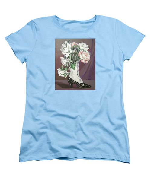 Women's T-Shirt (Standard Cut) featuring the painting Booted Peonies by Laura Aceto
