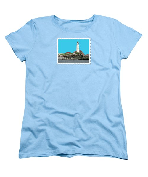 Boston Harbor Lighthouse Women's T-Shirt (Standard Cut) by Elaine Plesser