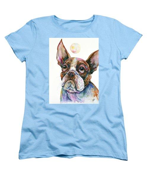Women's T-Shirt (Standard Cut) featuring the painting Boston Terrier Watching A Soap Bubble by Zaira Dzhaubaeva