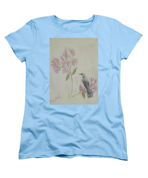 Bougainvillea And Mockingbird Women's T-Shirt (Standard Cut) by Donna Walsh