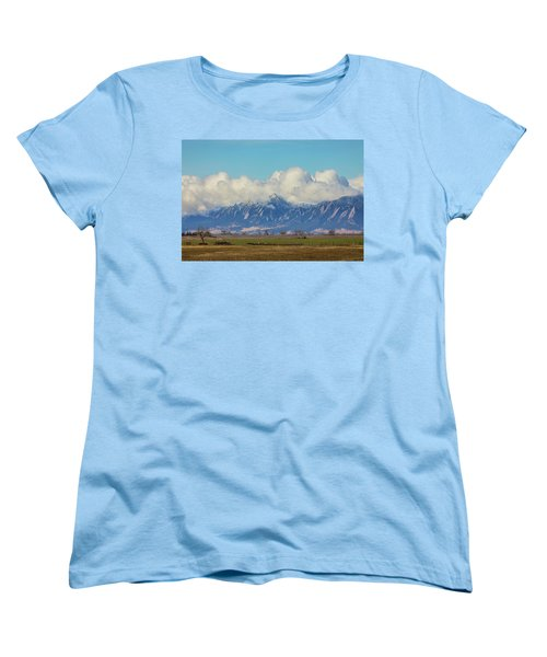 Women's T-Shirt (Standard Cut) featuring the photograph Boulder Colorado Front Range Cloud Pile On by James BO Insogna