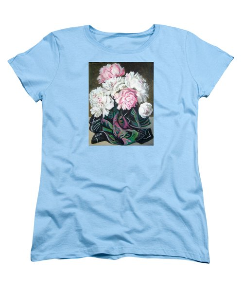 Women's T-Shirt (Standard Cut) featuring the painting Bouquet Of Peonies by Laura Aceto