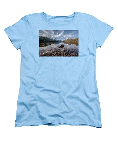 Bowman Lake Rocks Women's T-Shirt (Standard Cut) by Aaron Aldrich