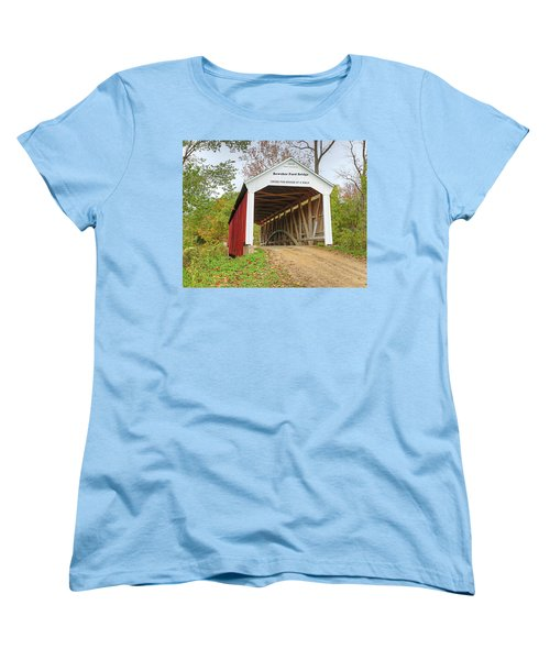 Women's T-Shirt (Standard Cut) featuring the photograph Bowser Ford Covered Bridge by Harold Rau