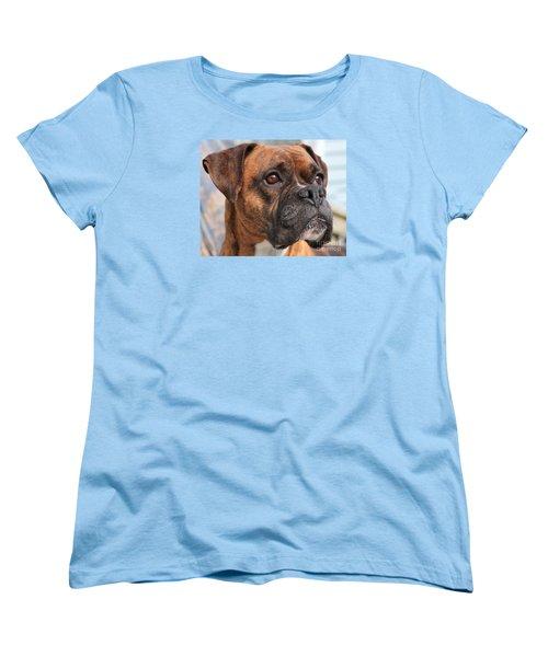 Boxer Portrait Women's T-Shirt (Standard Cut) by Debbie Stahre
