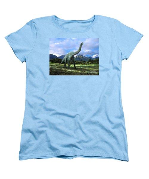 Brachiosaurus In Meadow Women's T-Shirt (Standard Cut) by Frank Wilson