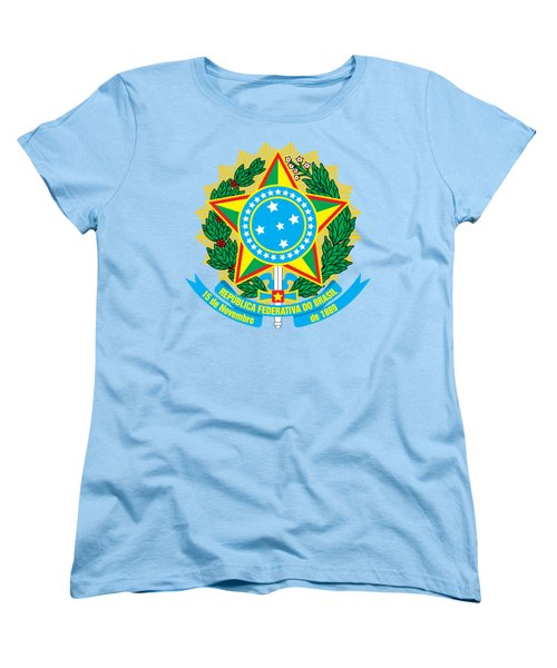 Women's T-Shirt (Standard Cut) featuring the drawing Brazil Coat Of Arms by Movie Poster Prints