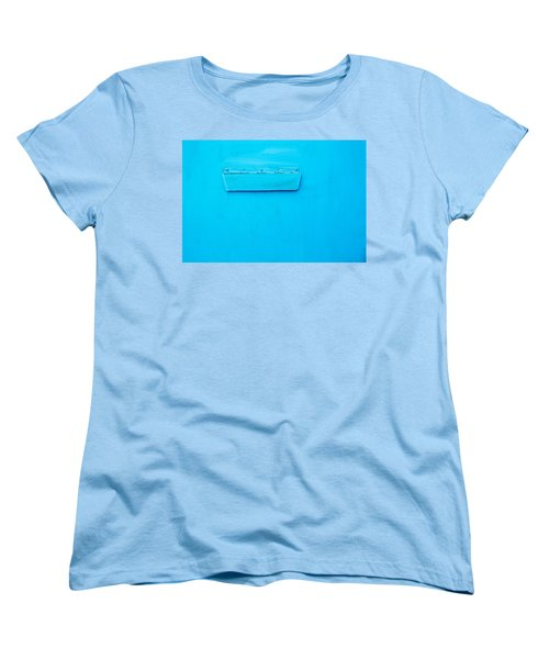 Women's T-Shirt (Standard Cut) featuring the photograph Bright Blue Paint On Metal With Postbox by John Williams