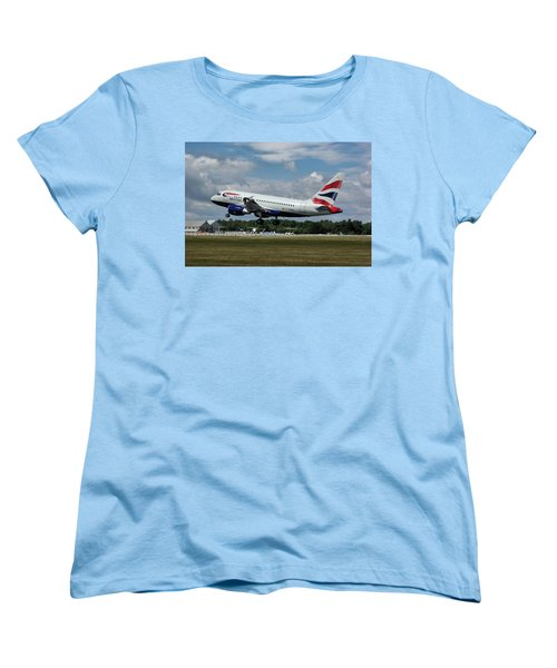 British Airways Airbus A318-112 G-eunb Women's T-Shirt (Standard Cut) by Tim Beach