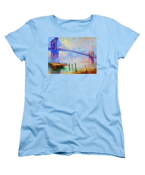 Brooklyn Bridge In A Foggy Morning Women's T-Shirt (Standard Cut) by Ylli Haruni