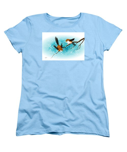 Brown Swallows In Winter Women's T-Shirt (Standard Cut) by John Wills
