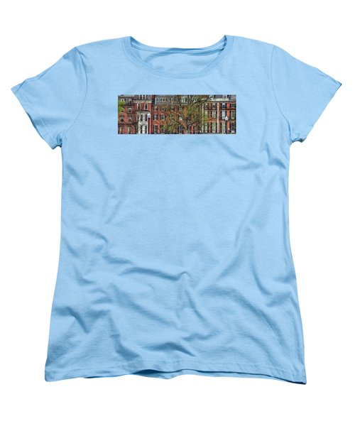 Women's T-Shirt (Standard Cut) featuring the photograph Brownstone Panoramic - Beacon Street Boston by Joann Vitali
