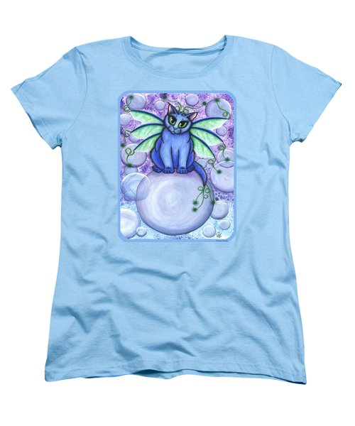 Women's T-Shirt (Standard Cut) featuring the painting Bubble Fairy Cat by Carrie Hawks