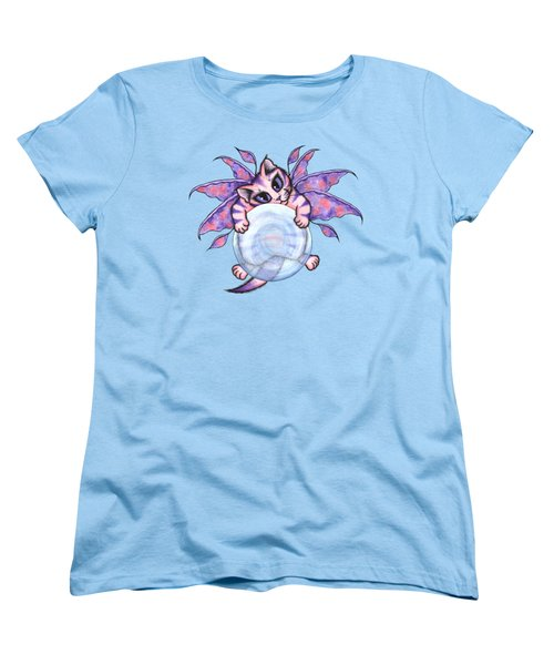 Women's T-Shirt (Standard Cut) featuring the painting Bubble Fairy Kitten by Carrie Hawks