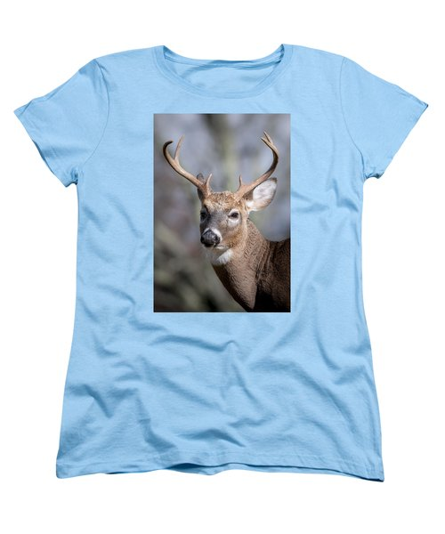 Women's T-Shirt (Standard Cut) featuring the photograph Buck Headshot by Tyson and Kathy Smith