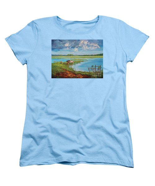 Women's T-Shirt (Standard Cut) featuring the painting Bucolic St. John's by AnnaJo Vahle