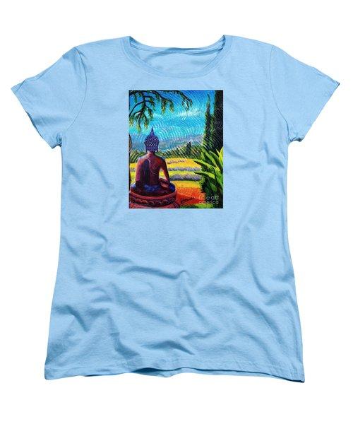 Buddha Atop The Lavender Farm Women's T-Shirt (Standard Cut)